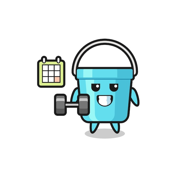 Desenho de mascote de balde de plástico fazendo exercícios com halteres, design de estilo fofo para camiseta, adesivo, elemento de logotipo