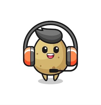 Desenho de mascote de batata como serviço ao cliente, design de estilo fofo para camiseta, adesivo, elemento de logotipo