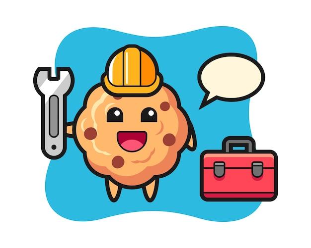Desenho de mascote de biscoito de chocolate como mecânico