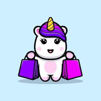 Desenho de mascote de bolsa de compras de unicórnio