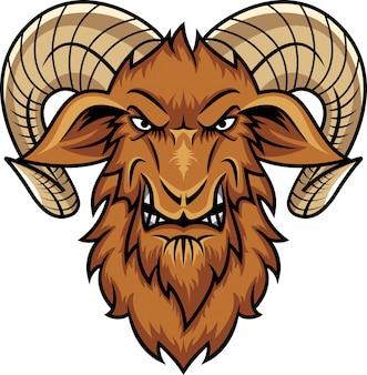 Desenho de mascote de cabra cabeça