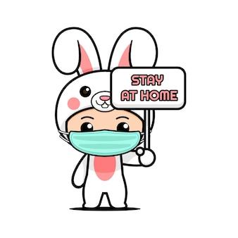 Desenho de mascote de coelho fofo