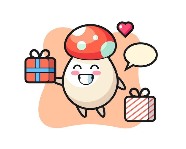 Desenho de mascote de cogumelo dando o presente, design de estilo fofo para camiseta, adesivo, elemento de logotipo