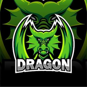 Desenho de mascote de dragão verde
