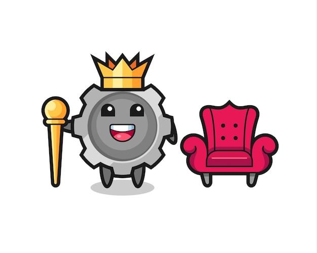 Desenho de mascote de engrenagem como um rei, design de estilo fofo para camiseta, adesivo, elemento de logotipo