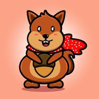 Desenho de mascote de esquilo fofo comendo avelã