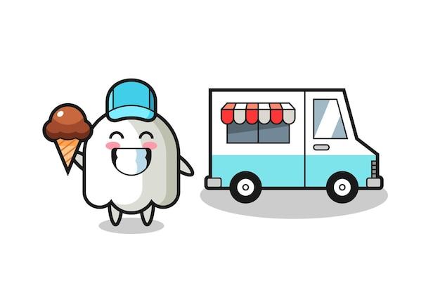Desenho de mascote de fantasma com caminhão de sorvete, design de estilo fofo para camiseta, adesivo, elemento de logotipo
