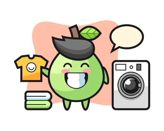 Desenho de mascote de goiaba com máquina de lavar, design de estilo bonito para camiseta, adesivo, elemento do logotipo