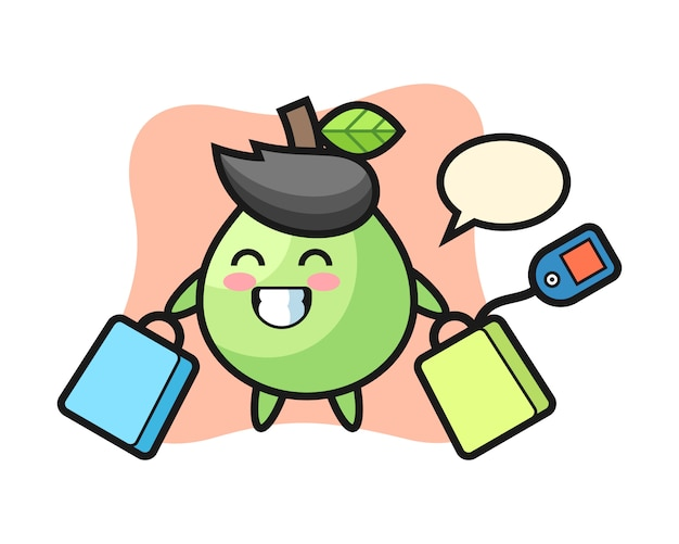 Desenho de mascote de goiaba segurando uma sacola de compras, estilo bonito para camiseta, adesivo, elemento do logotipo