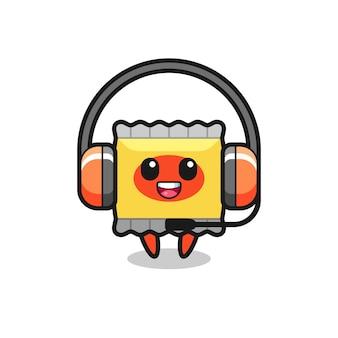 Desenho de mascote de lanche como serviço ao cliente, design de estilo fofo para camiseta, adesivo, elemento de logotipo