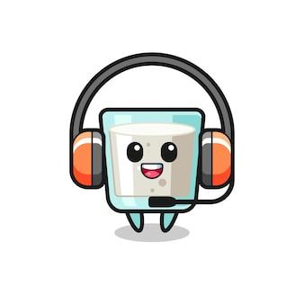 Desenho de mascote de leite como serviço ao cliente, design de estilo fofo para camiseta, adesivo, elemento de logotipo
