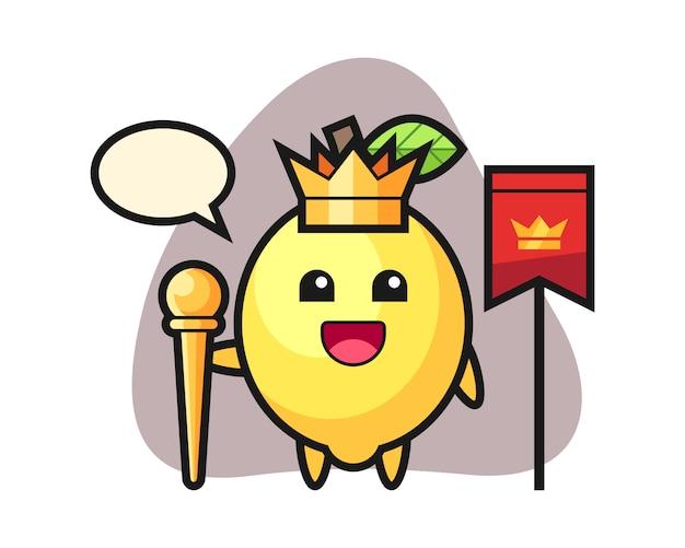 Desenho de mascote de limão como um rei