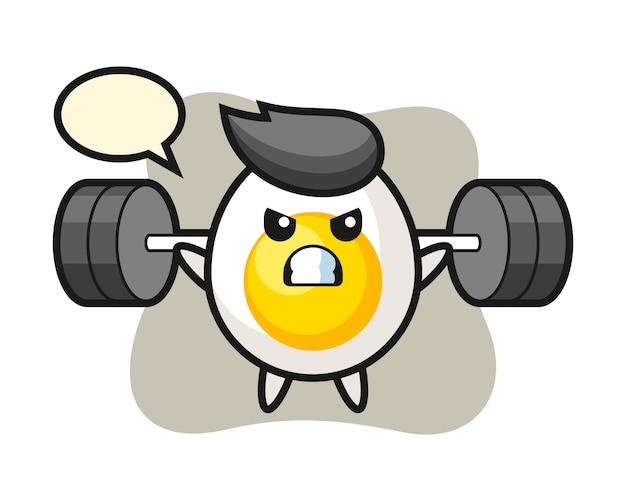 Desenho de mascote de ovo cozido com um barbell