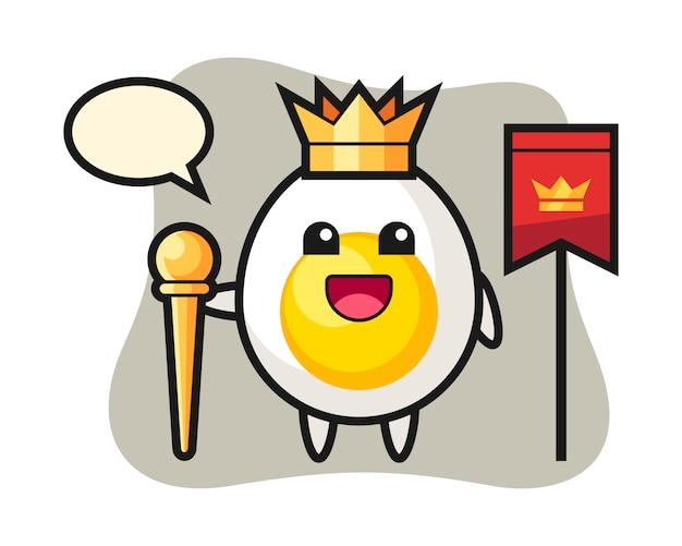 Desenho de mascote de ovo cozido como um rei
