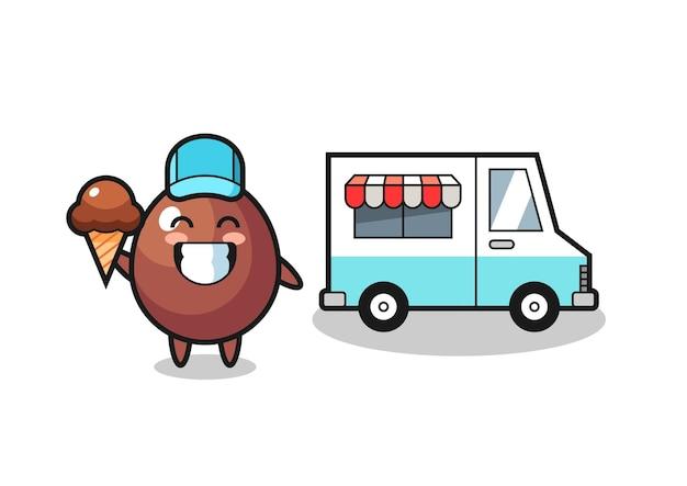 Desenho de mascote de ovo de chocolate com caminhão de sorvete, design fofo