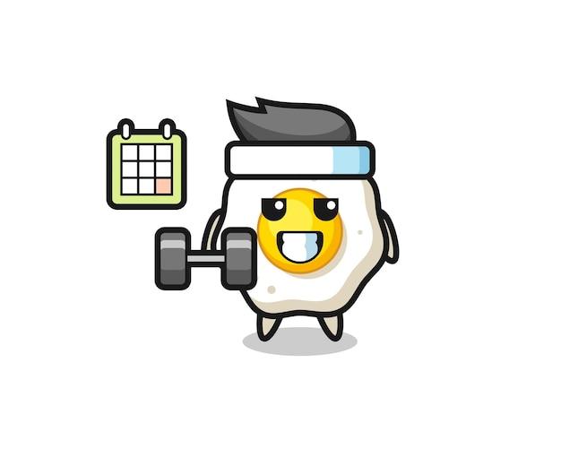 Desenho de mascote de ovo frito fazendo exercícios com halteres, design de estilo fofo para camiseta, adesivo, elemento de logotipo