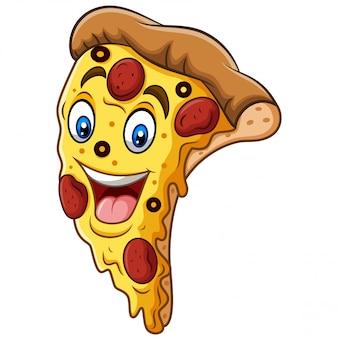 Desenho de mascote de pizza sorridente dos desenhos animados