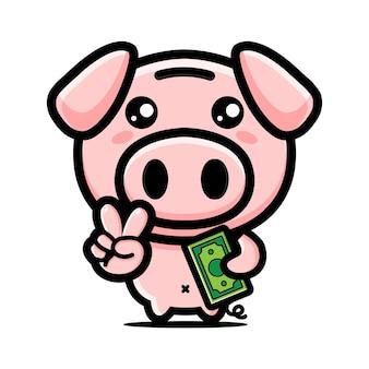 Desenho de mascote de porco fofo