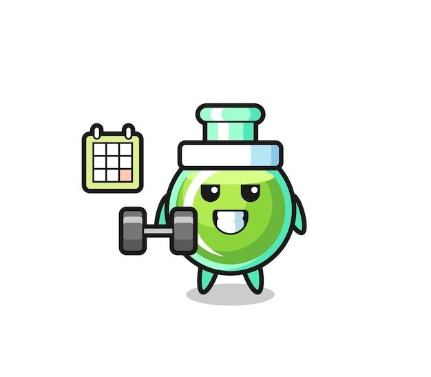 Desenho de mascote de provetas de laboratório fazendo exercícios com halteres, design de estilo fofo para camiseta, adesivo, elemento de logotipo
