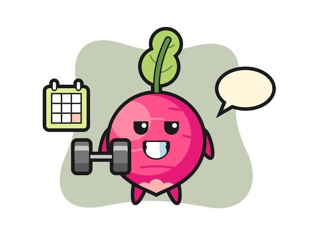 Desenho de mascote de rabanete fazendo exercícios com halteres, design de estilo fofo para camiseta, adesivo, elemento de logotipo