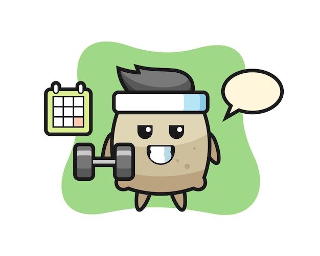 Desenho de mascote de saco fazendo exercícios com halteres, design de estilo fofo para camiseta, adesivo, elemento de logotipo