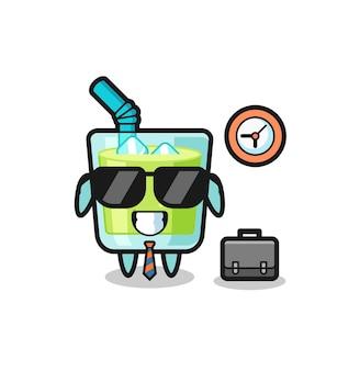 Desenho de mascote de suco de melão como empresário, design de estilo fofo para camiseta, adesivo, elemento de logotipo