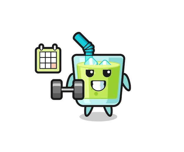 Desenho de mascote de suco de melão fazendo exercícios com halteres, design de estilo fofo para camiseta, adesivo, elemento de logotipo