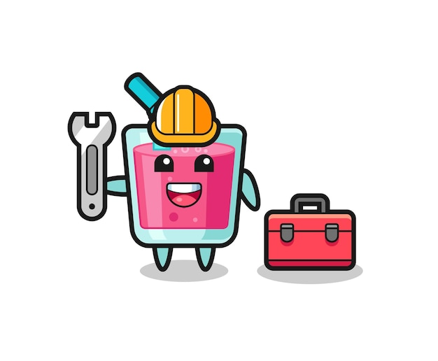 Desenho de mascote de suco de morango como mecânico, design de estilo fofo para camiseta, adesivo, elemento de logotipo