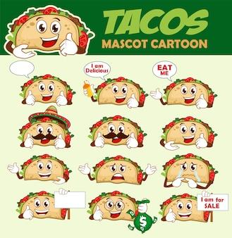 Desenho de mascote de tacos
