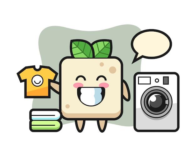 Desenho de mascote de tofu com máquina de lavar, design bonito estilo para camiseta