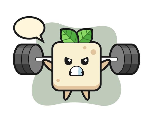 Desenho de mascote de tofu com um barbell, design de estilo bonito para camiseta