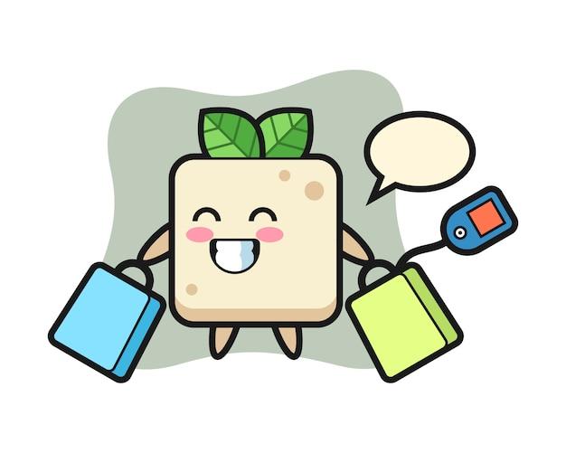 Desenho de mascote de tofu segurando uma sacola de compras, design de estilo bonito para camiseta