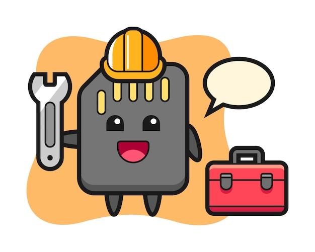 Desenho de mascote do cartão sd como um mecânico, design bonito estilo para camiseta