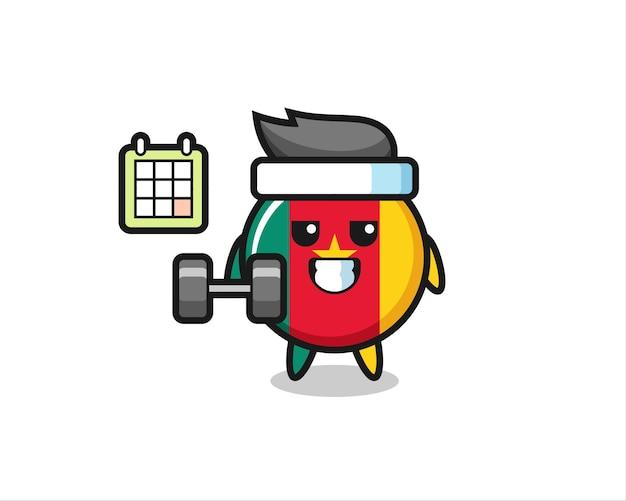 Desenho de mascote do emblema da bandeira dos camarões fazendo exercícios com halteres, design de estilo fofo para camiseta, adesivo, elemento de logotipo