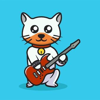 Desenho de mascote estilo cultura urbana de gato fofo