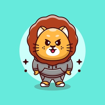 Desenho de mascote leão e rei fofo