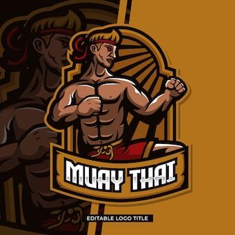 Desenho de mascote lutador de muay thai com texto editável
