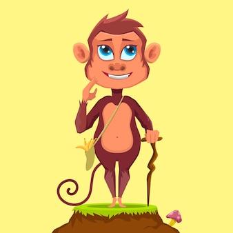 Desenho de mascote macaco fofo parado na grama enquanto usa uma vara de madeira