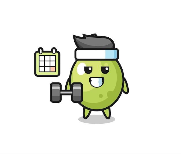 Desenho de mascote verde-oliva fazendo exercícios com halteres, design de estilo fofo para camiseta, adesivo, elemento de logotipo