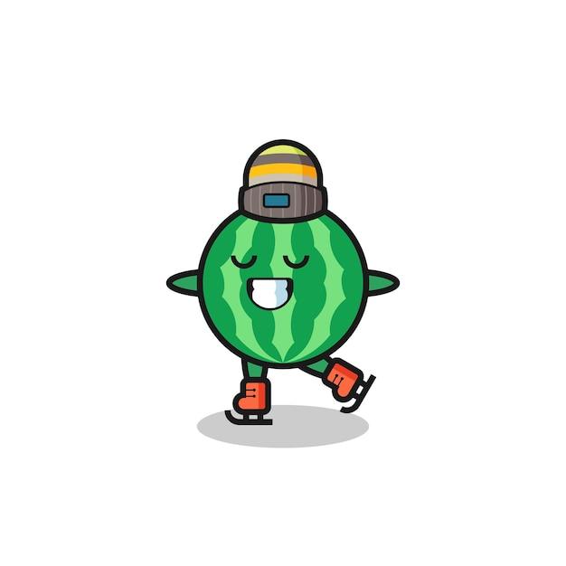 Desenho de melancia como um jogador de patinação no gelo fazendo performance, design de estilo fofo para camiseta, adesivo, elemento de logotipo