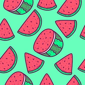 Desenho de melancia desenho padrão doodle