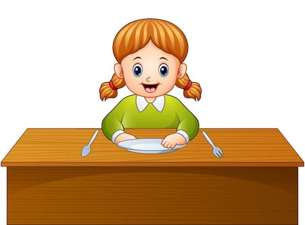 Desenho de menina bonitinha esperando o café da manhã na mesa de jantar