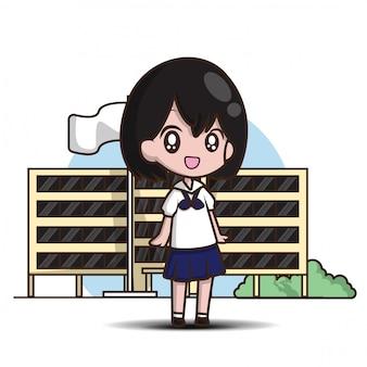 Desenho de menina bonito estudante