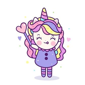 Desenho de menina bonito unicórnio segurando a varinha mágica