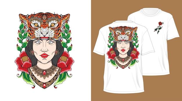 Desenho de menina cabeça de tigre balinesa para camiseta branca