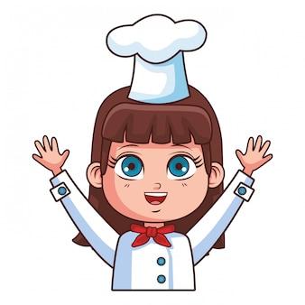 Desenho de menina cute chef