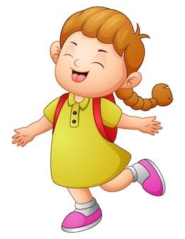 Desenho de menina da escola feliz