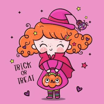 Desenho de menina de halloween com vestido de bruxa com balde de abóbora