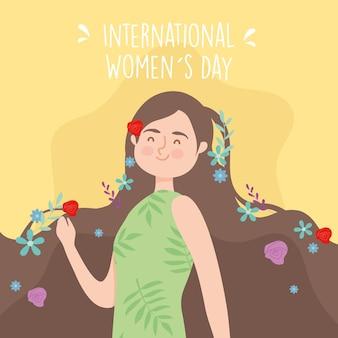 Desenho de menina do dia internacional da mulher com flores no design do cabelo da ilustração do tema empoderamento da mulher