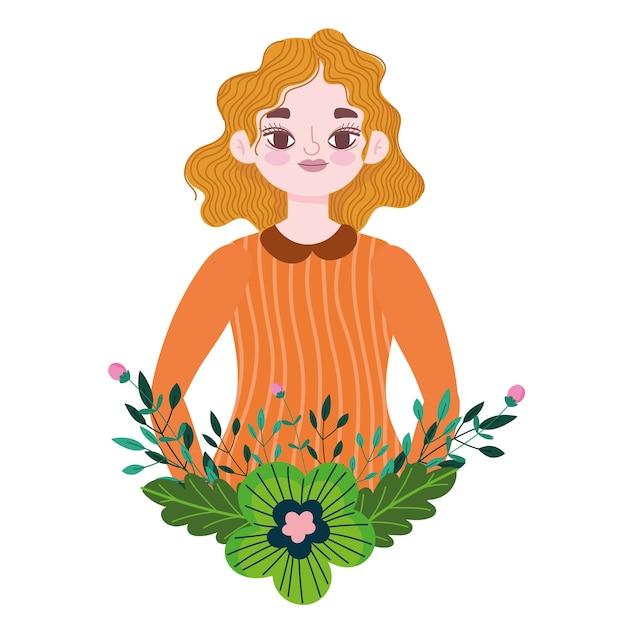 Desenho de menina loira com ilustração de decoração de flores e folhagem